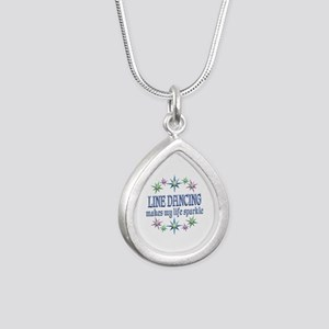 Line Dancing Sparkles Silver Teardrop Necklace