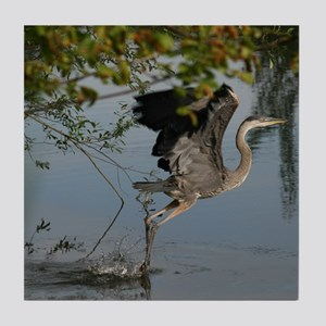 Great Blue Heron Takes Flight Tile Coaster