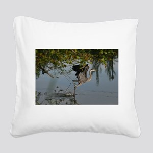 Great Blue Heron Takes Flight Square Canvas Pillow