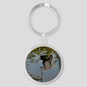 Great Blue Heron Takes Flight Keychains