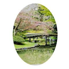 Cherry Blossom Bridge Ornament (Oval)