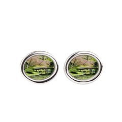 Cherry Blossom Bridge Oval Cufflinks