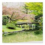 Cherry Blossom Bridge Square Car Magnet 3