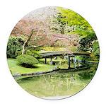 Cherry Blossom Bridge Round Car Magnet