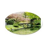 Cherry Blossom Bridge Oval Car Magnet