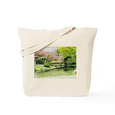 Cherry Blossom Bridge Tote Bag