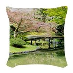 Cherry Blossom Bridge Woven Throw Pillow