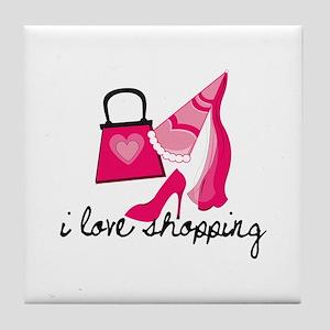 I Love Shopping Tile Coaster