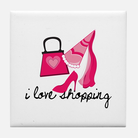 I Love Shopping Tile Coaster