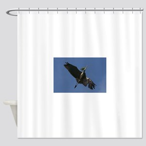 Great Blue Heron Flying Shower Curtain