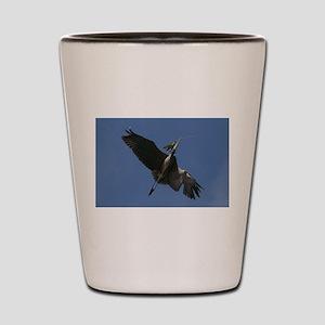 Great Blue Heron Flying Shot Glass
