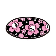 Skull Pink Blossoms Patches