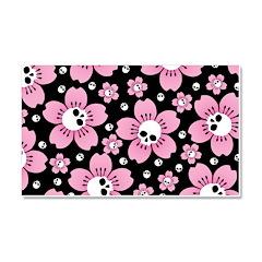 Skull Pink Blossoms Car Magnet 20 x 12