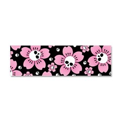 Skull Pink Blossoms Car Magnet 10 x 3