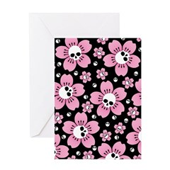 Skull Pink Blossoms Greeting Cards