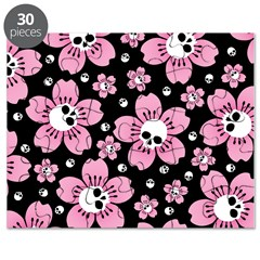 Skull Pink Blossoms Puzzle
