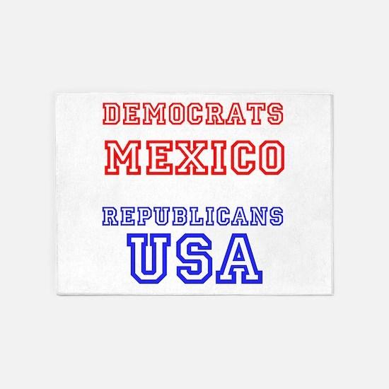 Democrats Mexico Republicans USA 5'x7'Area Rug