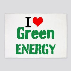 I Love Green Energy 5'x7'Area Rug