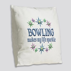 Bowling Sparkles Burlap Throw Pillow