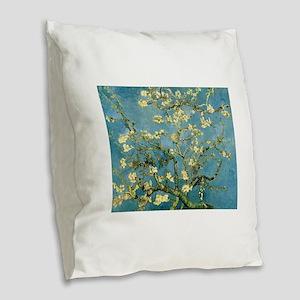 VanGogh Almond Blossoms Burlap Throw Pillow