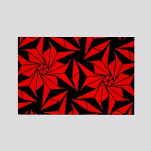 Red and Black Geometric Floral Rectangle Magnet