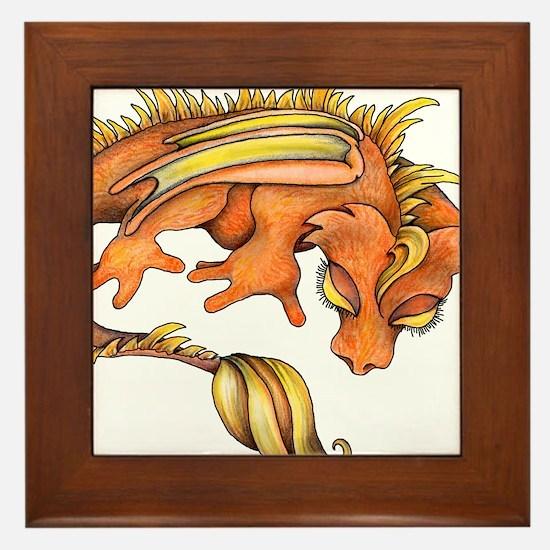 Orange Dragon Framed Tile