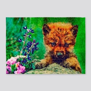 Wildflowers Wolf Pup 5'x7'Area Rug