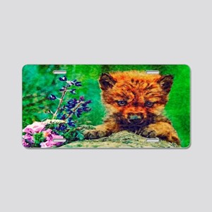 Wildflowers Wolf Pup Aluminum License Plate
