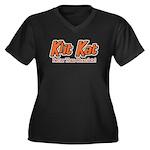 Klit Kat Women's Plus Size V-Neck Dark T-Shirt