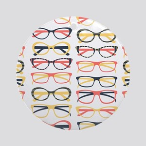 Hipster Glasses Ornament (Round)