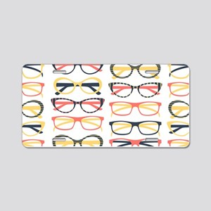 Hipster Glasses Aluminum License Plate