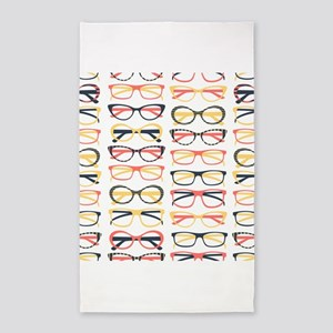 Hipster Glasses 3'x5' Area Rug