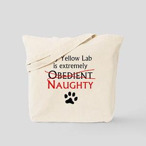 Naughty Yellow Lab Tote Bag