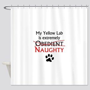 Naughty Yellow Lab Shower Curtain