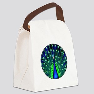 Pretty Peacock Canvas Lunch Bag