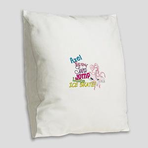 Ice Skating Burlap Throw Pillow