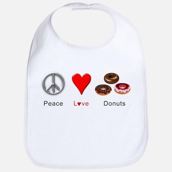 Peace Love Donuts Bib