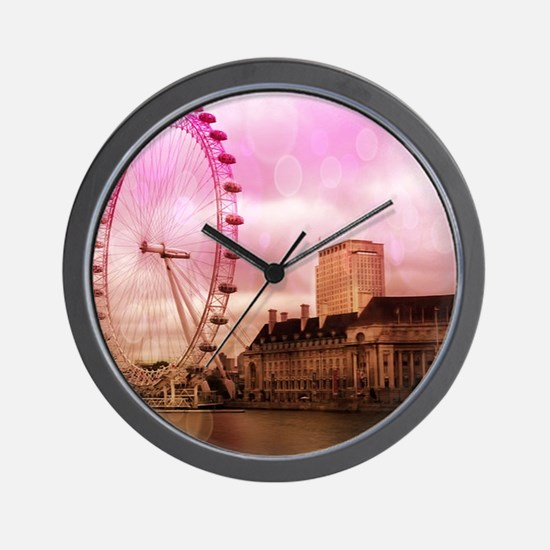 London, pink effect Wall Clock