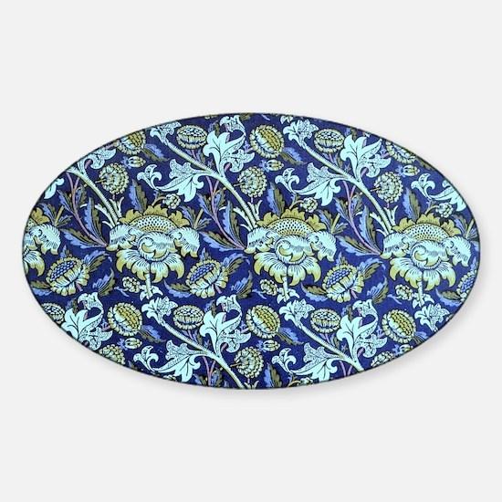 William Morris, Blue Floral Pattern Sticker (Oval)