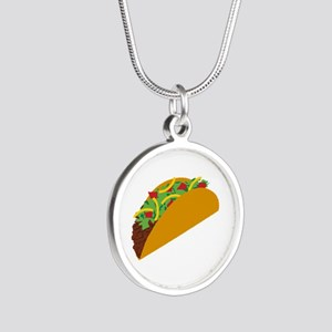 Taco Graphic Silver Round Necklace