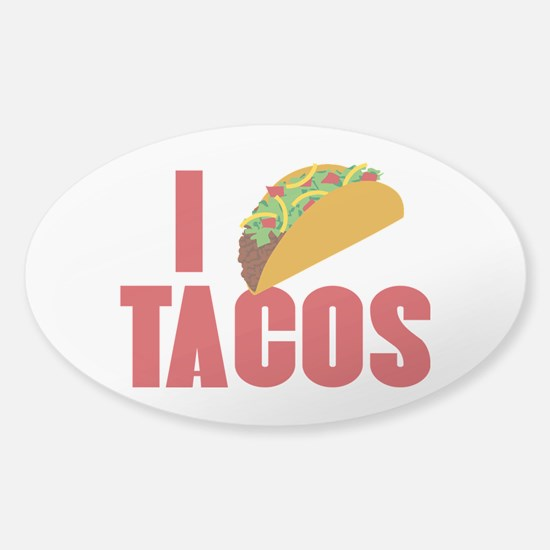 I Love Tacos Sticker (Oval)