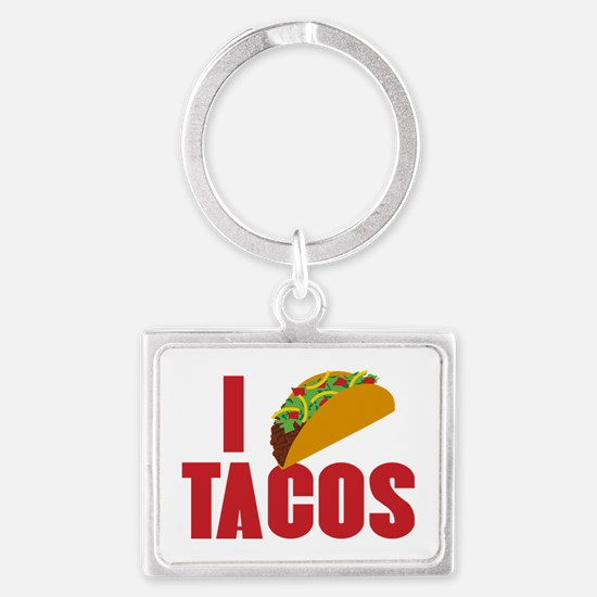 I Love Tacos Landscape Keychain