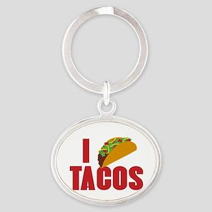 I Love Tacos Oval Keychain