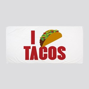 I Love Tacos Beach Towel
