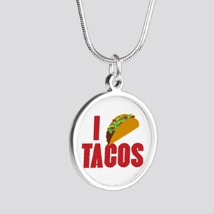 I Love Tacos Silver Round Necklace