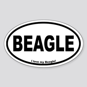 Beagle Designs Oval Sticker