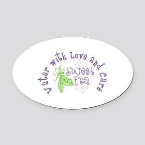 Sweet Pea Water With Love and Care Oval Car Magnet