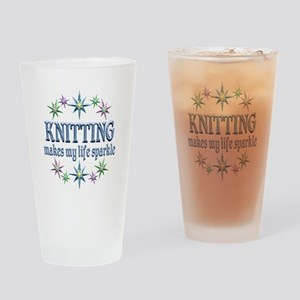Knitting Sparkles Drinking Glass