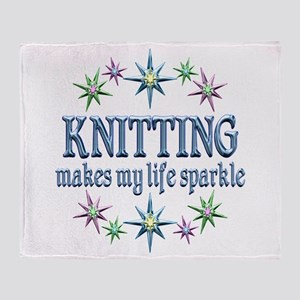 Knitting Sparkles Throw Blanket