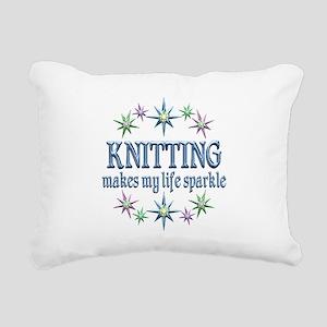 Knitting Sparkles Rectangular Canvas Pillow